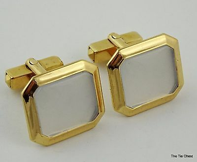 Vintage 1950s Cufflinks Anson Signed Gold Tone White Cuff Links Beautiful!