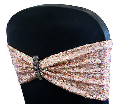 Sequin Chair Bands 5 Colours Events Wedding Decor Christmas Dinner