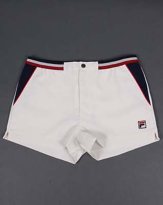 Fila Vintage High Tide 3 Shorts in Gardenia, Navy & Red - Borg tennis shorts