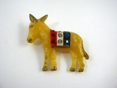 Rare Design Vintage Collectible Political Pin: 1940s Democrat Donkey Plastic