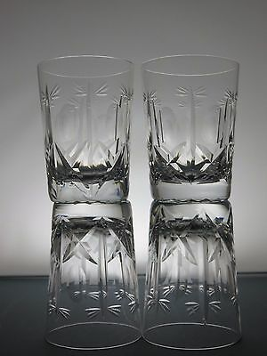 4 Large Brierley Hill Crystal Cross & Hollow Cut Glass Whisky Tumblers Whiskey