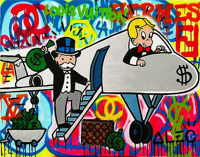 Alec Monopoly Oil Painting on Canvas Urban art wall decor color Airplane 24x36