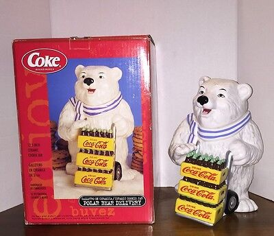 Coca-Cola Coke Christmas Ceramic Cookie Jar Polar Bear Delivery NIB By Gibson