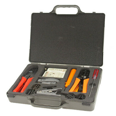 Kit Coaxial and Ratchet Multi-Core Crimping, Cut and Stripper Set with Tester