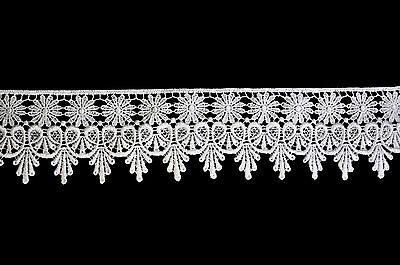 """Kiddo 2.5"""" White or Ivory Floral Victorian Guipure Venice Lace Trim by Yardage"""