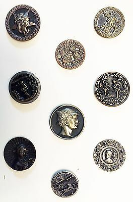 Beautiful Card Of 9 Antique Metal Victorian Picture Buttons W/ People Figures