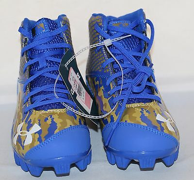 Under Armour Clutchfit Baseball Cleats Blue & Gold Boys or Girls Size 1 Y NEW