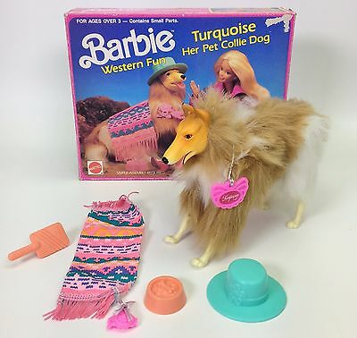 1989 Barbie Western Fun Turquoise Her Pet Collie Dog Used