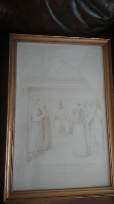 Antique print St. Stephen before the Council: Kupelwieser Drawing 1850