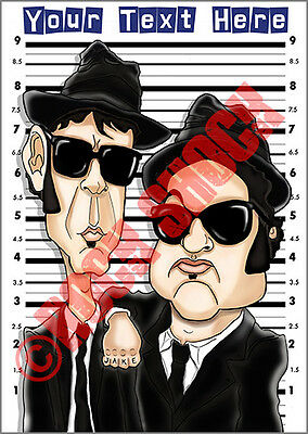 The Blues Brothers Caricature Custom Text Greeting Card Jake Elwood Music Movies