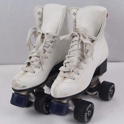 Vintage White Leather Women's Size 5 Official Roller Derby Skates