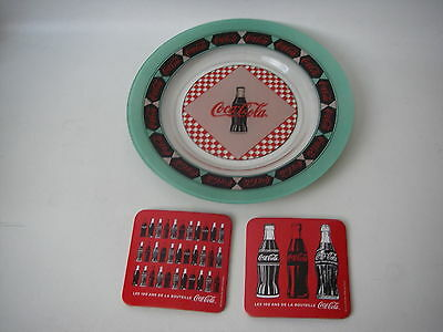 Cocacola Plate Dish 1999 Collectable and 2 NEW coasters