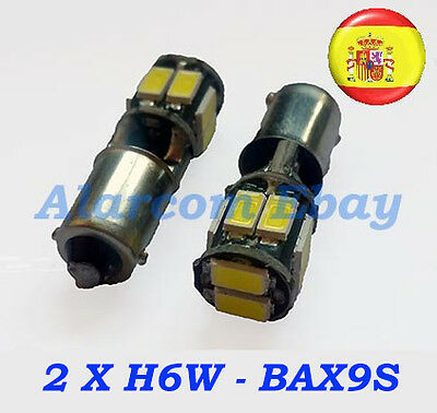 2X Bombillas  H6W Bax9S 10 Led 5630 5730 Blanco Canbus Error Free #3006