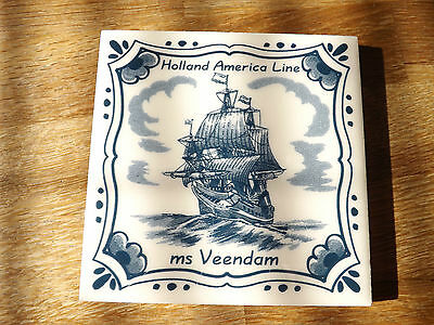 "Holland - America Line  ms Veendam  Delft Tile 1/4"" Thick."