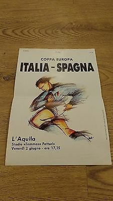 Italy v Spain 1989 Rugby Union Programme