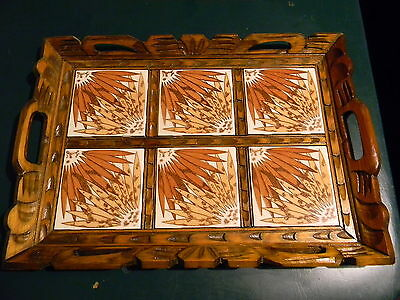 Vintage Handcrafted Carved Wood Serving Tray W/ Mexican Inlaid Ceramic Tile