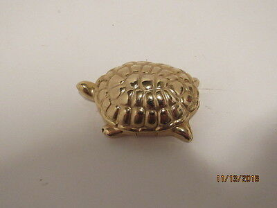 Vintage Estate Avon Golden Turtle Solid Candid Perfume Empty Gold Collectible