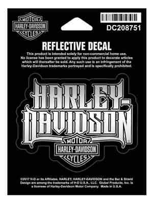 Harley-Davidson Reflective Spiked Text Decal, XS Size, 3 x 2.5 inches DC208751