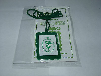 Green Scapular With Info Leaflet Christian Brand New Buy 2 Get 1 Free  Free P&p