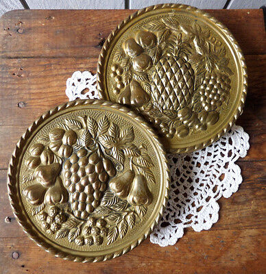 Vintage or Antique Brass Wall Pockets (2) Matching Pair Pineapple Grape Fruit