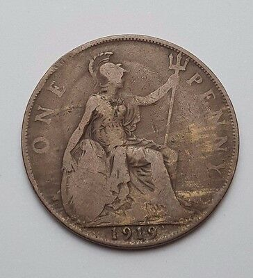 1919 - Copper - One Penny - Great Britain - King George V - English UK Coin