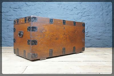Antique Oak Banded Chest / Trunk / Blanket Box - Coffee Table Size Great Colour