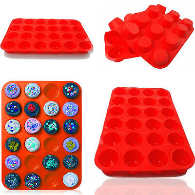 24 Cavity Mini Muffin Cup Silicone Soap Cookies Cupcake Bakeware Pan Tray Mould