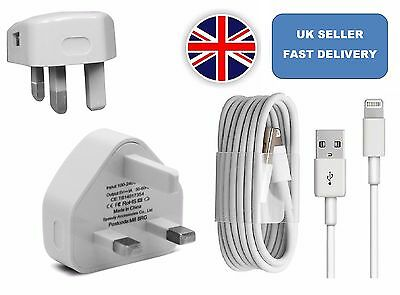 NEW Mains Charger USB Wall Plug / Charging Cable For iPhone 6s 5 5S 7 SE iPad UK