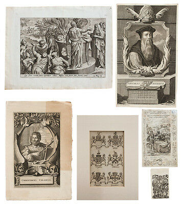 6 PIECE EARLY PRINT LOT Engravings Etchings Paper Miniature Solders Religious