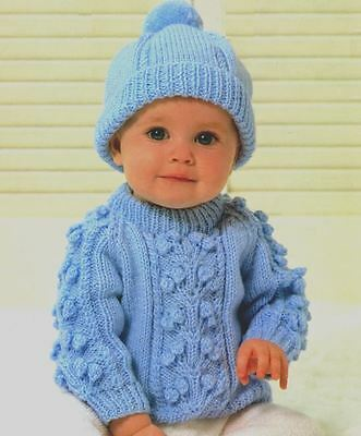 Knitting Pattern Boy's Cute DK Cable Sweater & Hat Set 46 - 51 cm (36)