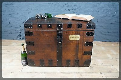 Antique Oak Banded Silver Chest / Trunk / Blanket Box Good Size - Cecil Chaplin