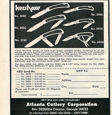 1976 small Print Ad Atlanta Cutlery Kershaw Knife 2040 2050 2060 2000 2010 2020