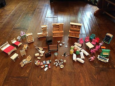 large lot of miniature doll house furniture,tools,gardening,cans,feed sacks,tool