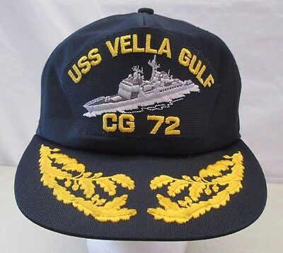Vintage USS Vella Gulf CG72 Snapback Hat Embroidered Cap Navy Blue Made in USA