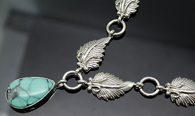 """Running Bear Shop Superb Turquoise Southwestern Sterling Silver 16"""" Necklace"""
