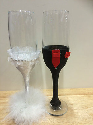 Wedding Bride and Groom Champagne Flutes  RED Mr & Mrs Glasses Wedding Gift