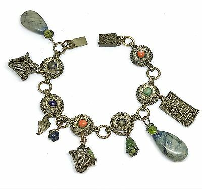 """Antique Victorian Chinese Silver Filigree CHINA Charm Bracelet 7"""""""