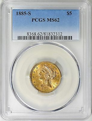1885-S Liberty Head Half Eagle $5 Gold Pcgs Ms62