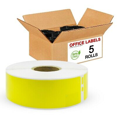 5 Rolls of 30252 Yellow Compatible Address Labels for DYMO 1-1/8'' x 3-1/2''