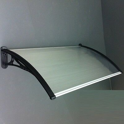 Polycarbonate Canopy Awning DIY kit, Pearl, Clear top, Black brackets, 4ft