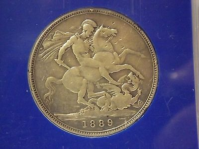 Queen Victoria  Silver Crown 1889 Good Condition Great Britain Uk
