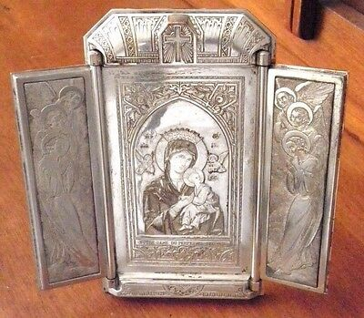 """Antique French Triptych Mary & Jesus """"Notre Dame Du Perpetuel Secours"""" B. Wicker"""