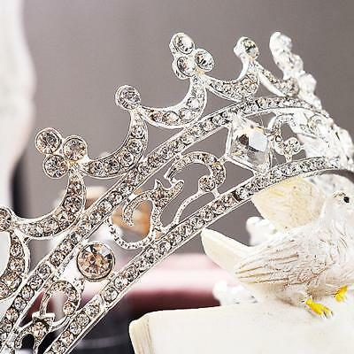 Women Bridal Tiara Pageant Queen Crown Headpiece Wedding Party Favors Silver