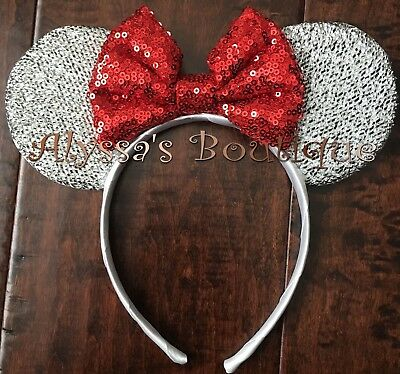 Minnie Mouse Ears Headband Shiny Silver With Red Bow Birthday Party Favors Cute