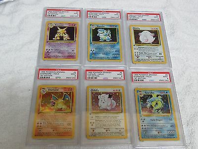 Pokemon 1st Edition Spanish complete set PSA 9, 102 cards, graded in order!!