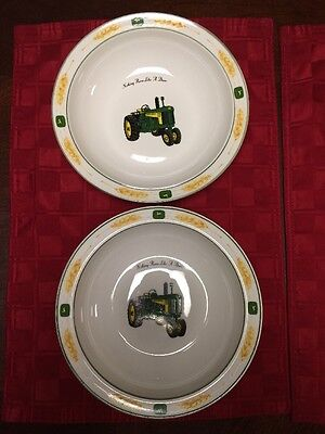 """JOHN DEERE GIBSON SOUP CEREAL BOWL AMBER FIELDS COLlECTION Set Of 2 - 8"""""""
