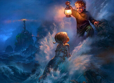 """HD Print  on canvas oil painting decoratwall,""""Lighthouse,Boy and mermaid""""12x16"""