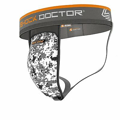 Shock Doctor Adult Support with Air Core Soft Cup, White Camo, XL with L Cup