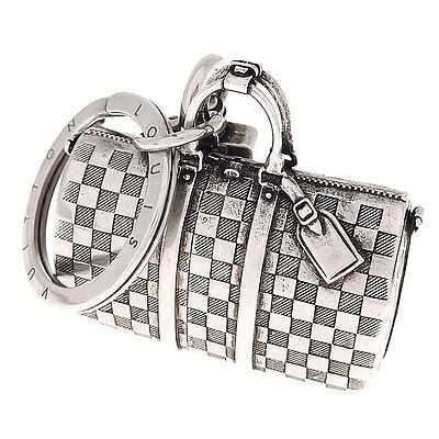 Authentic LOUIS VUITTON Damier The Keepall Bag Charm Key Ring Holder Italy