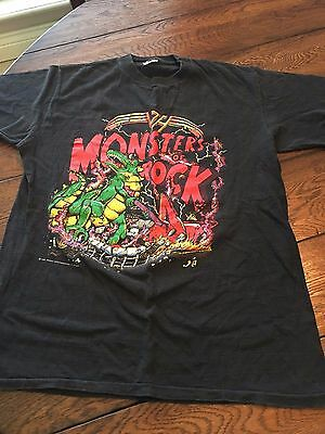 Vintage 80s Monsters of Rock Tour 1988 Concert Tshirt Van Halen Tee  RARE BLACK